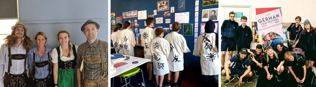 photo of four teachers dressed up for Oktoberfest, photo of students in a classroom wearing handmade kimonos with Japanese lettering on the back, and a photo of a group of students in front of a German film festival sign