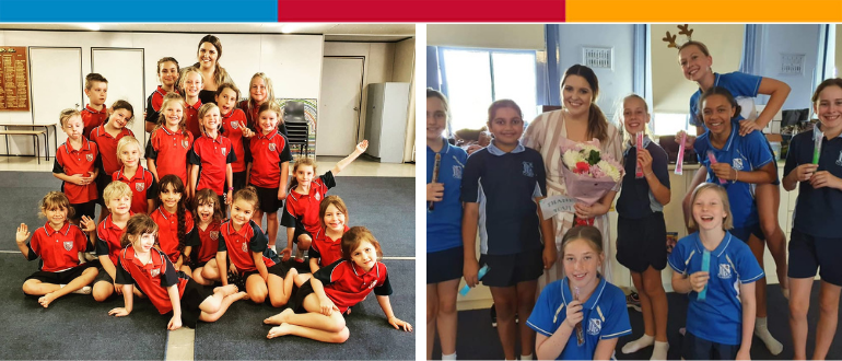 Photos of two primary school dance troupes with their teacher Miss Hooker