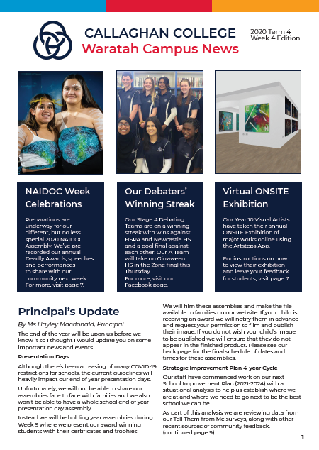 Front cover of the Callaghan College Waratah Campus 2020 Term  Week 4 Newsletter