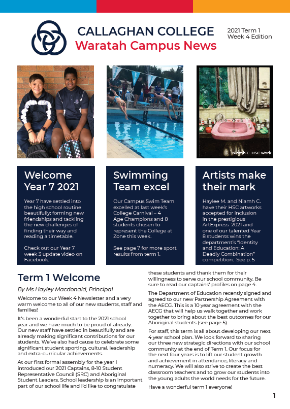 Front cover of Term 1 Week 4 Newsletter