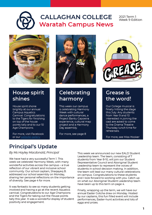 Image of the front cover of the newsletter