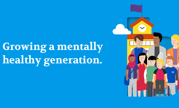 "Illustration of people standing in front of a building with the words ""building a mentally healthy generation"""