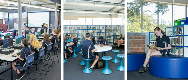 3 photos of students using our library facilities